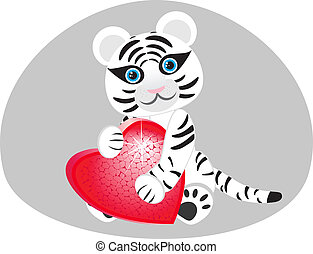Vector image of a white tiger with a heart in his paws