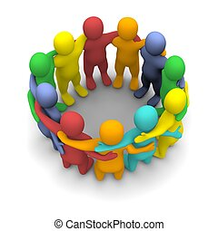 Social group of friends 3d rendered illustration isolated on...