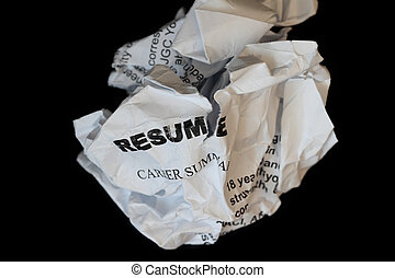 resumes crumpled up and tossed in frustration - isolated in...