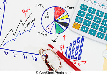 Business environment abstract - with graph and colored...