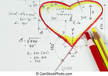 Love calculation- sketch of heart and formulas for the heart...