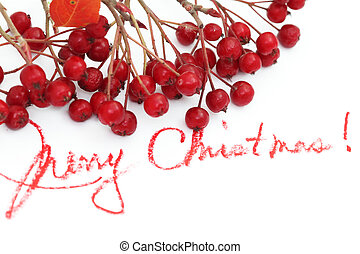 christmas background with berries and text of merry...