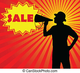 man with megaphone (sale concept) - vector
