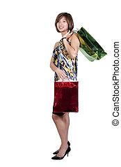 Asian Woman Shopping Bags