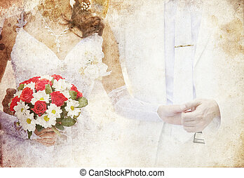 Bridegroom and bride holding beautiful red roses wedding...