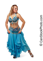 young girl dance in blue arabian oriental costume