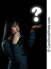 Woman with Question sign