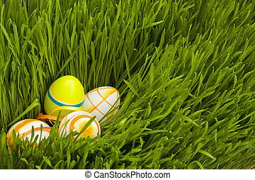 Easter Eggs - Painted Colorful Easter Eggs on green Grass