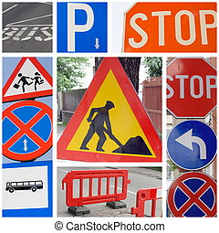 traffic signs - Series of different traffic signs collage