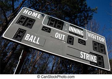 Baseball Scoreboard - A Baseball Scoreboard at a local...