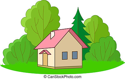 House and trees - House on forest glade with trees, vector,...