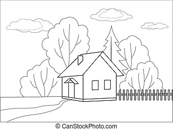 Small house on a wood edge, contours