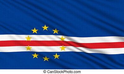 Cape Verde Flag, with real structure of a fabric