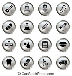Medical silver icons set