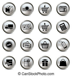 Shopping silver icons set