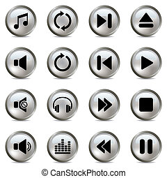 Music silver icons set