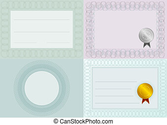 Blank Certificate Backgrounds - Set of Blank Certificate...