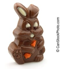 Easter chocolate rabbit with carrot
