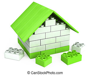 3D house of the plastic pieces of children's play - 3D...