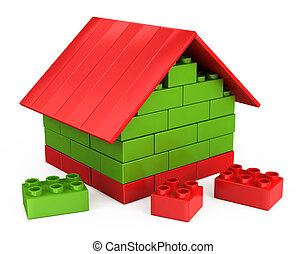 3D house of the plastic pieces of childrens play - 3D...