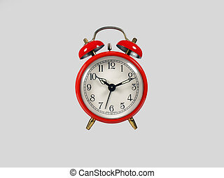 Old red clock - Old clock red on a white background