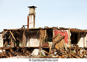 Disaster ruined house - Hurricane earthquake disaster damage...