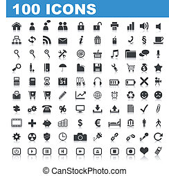 100 Web Icons isolated on white
