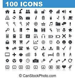 100 Web Icons isolated on white