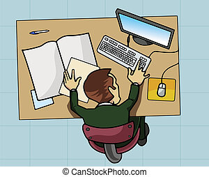 Employee working at his computer - Cartoon-style...