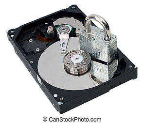 Information Security Padlock on a Hard Drive - A strong lock...