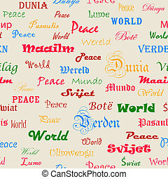Peace Seamless wallpaper with the word peace in different...