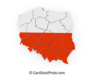 Map of Poland in polish flag colors