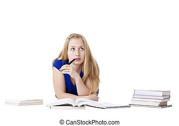 Attractive, blond woman lying at floor with books thinks...