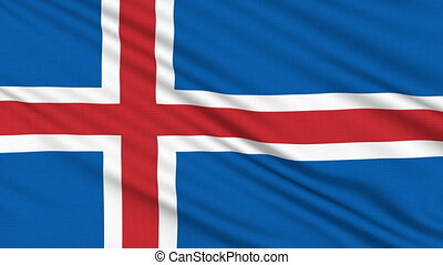 Iceland flag, with real structure of a fabric