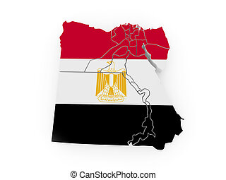 Map of Egypt in egyptian flag colors