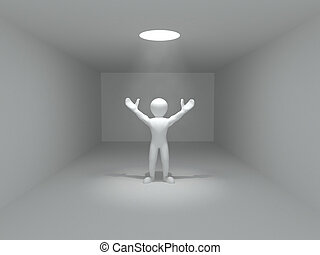 Concepts of freedom. Men and volume light from the hole. 3d