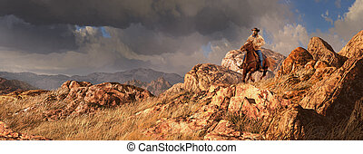 Big Country - An old west scene of a cowboy riding his...