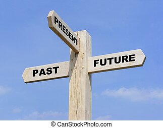 Past Present Future - Isolated wooden signpost with the text...