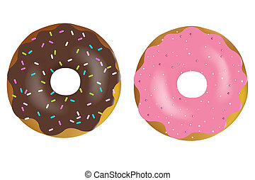 Donuts - 2 Colorful And Tasty Donuts, Isolated On White...
