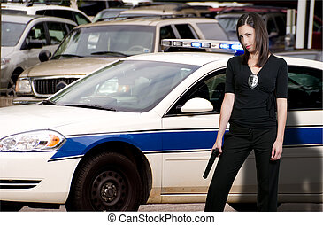 Police Woman - A beautiful police detective woman out...