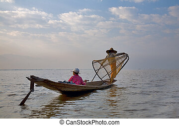 fishermens at Inle lake in the morning, Myanmar