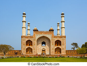 Sikandra, Tomb of Akbar (the great Mughal emperor), at Agra,...