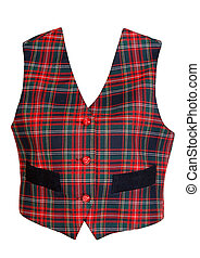 red plaid vest isolated on a white background