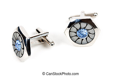 pair of platinum cufflinks with blue topaz isolated on white...