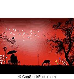 Lovers on sunset