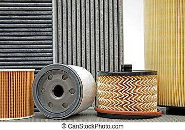 six various car filters - various filters used for car...