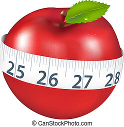 Apple With Measurement - Red Apple With Measurement,...