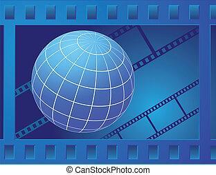 globe in film frame