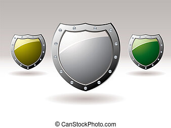 Metal shield icon collection - Brightly coloured silver...