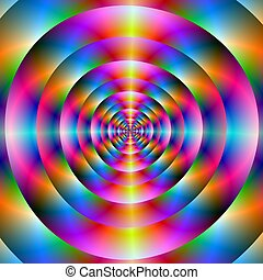Psychedelic Concentric Rings - Computer generated fractal...